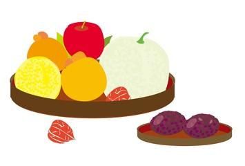 おはぎのぼたもちと果物の盛り合わせ