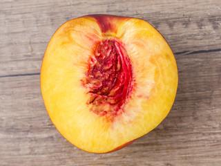 Fresh Nectarine On Wood Table