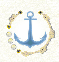 The Icon of anchor in sea color