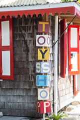 Sign Outside Old Toy Shop