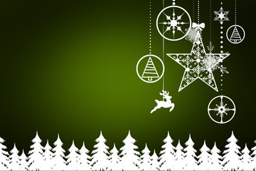 Composite image of fir tree forest and snowflakes