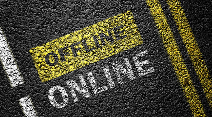 online not offline on the asphalt road
