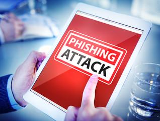 Hands Holding Digital Tablet Phishing Attack