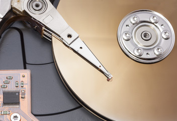 open harddisk to show disk arm and head