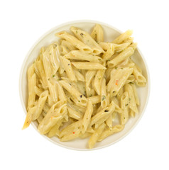 Cooked pasta with garlic and parsley in a cream sauce