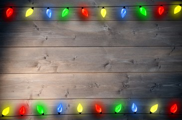 Composite image of christmas lights in a line