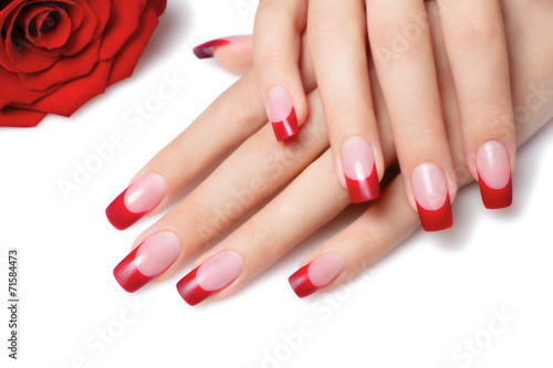 Red french manicure. - 71584473