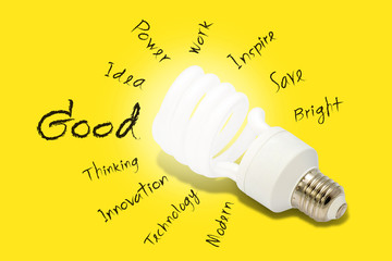 Good Idea, Energy saving fluorescent light bulb on Yellow backgr