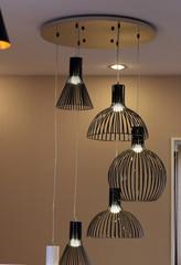 Modern black lamps.