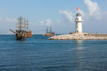 sea journey on vintage sailships  in Alanya, Turkey.