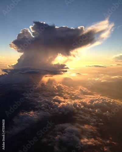 canvas print picture Wolken Aussicht Flugzeug Sonnenuntergang