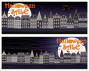Happy Halloween sale shopping banners, vector