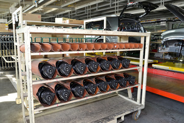 Rack with depreciation racks for cars in assembly shop of automo