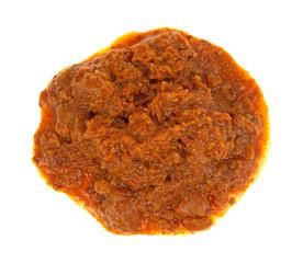 Blob of hot dog chili topping