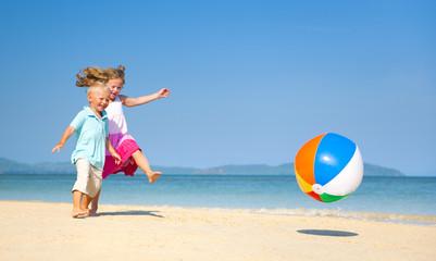 Summer Beach with Clear Sky Family Fun