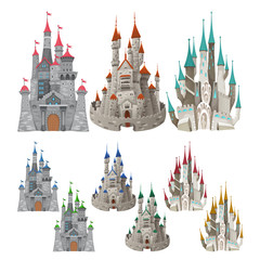 Set of medieval castles in different colors.
