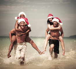Two Couple Celebrating on the Beach