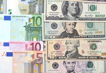 Background from dollars and euro.