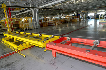 The conveyor line in assembly shop of automobile plant