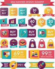 baby sale banner design flat background set, eps10