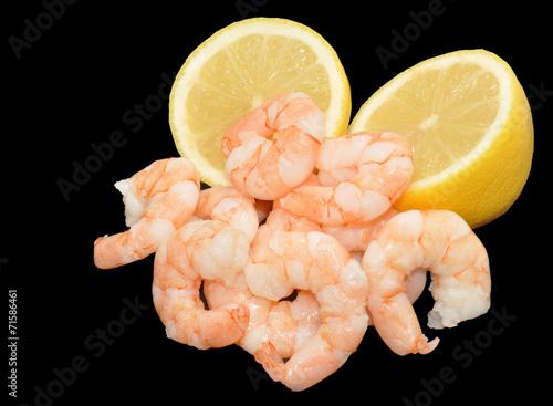 Cooked Fresh Prawns And Lemon