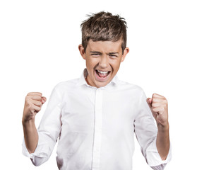 angry teenager screaming  isolated on white background
