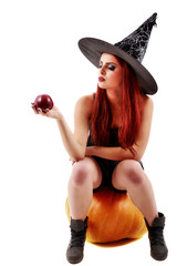 portrait of a charming red-haired witch holding pumpkin with red