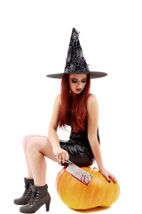 portrait of a charming red-haired witch holding pumpkin . Hallow