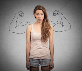 powerful girl wishful thinking funny girl with sketched muscles