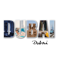 Dubai collage of different famous locations.
