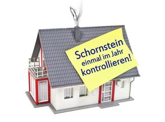 Haus mit Zettel und Schornstein
