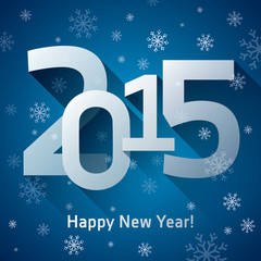 2015. Happy New Year, numbers, more snowflakes