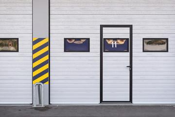 Garages door detail in race circuit.