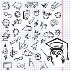 set of monochrome education icons on the notebook sheet