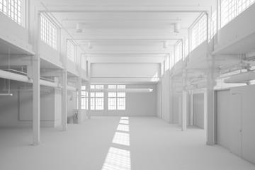 Große weiße Lagerhalle