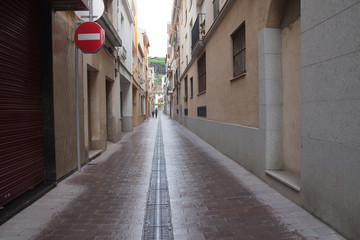Street of Calella city, Spain.