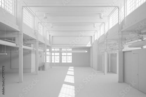 canvas print picture Große weiße Lagerhalle