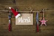 canvas print picture - Gastronomie: Werbeschild für ein Weihnachtsmenü