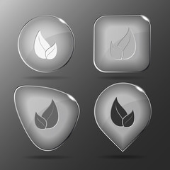 Leaf. Glass buttons. Vector illustration.