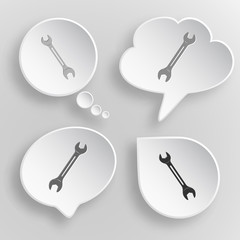 Spanner. White flat vector buttons on gray background.