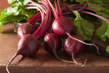 fresh beetroot on wooden background