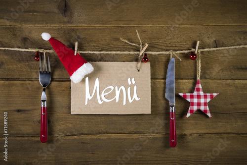 canvas print picture Gastronomie: Werbeschild für ein Weihnachtsmenü
