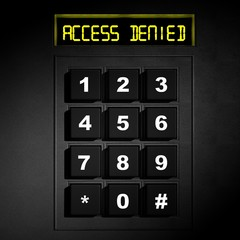 "Security black numeric dial with ""Access Denied"" screen"