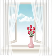 Background with an open window and a vase with roses. Vector.