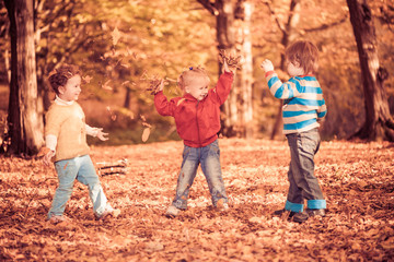 children throwing fallen leafs at fall forest