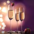 canvas print picture - Champagner und Erdbeeren