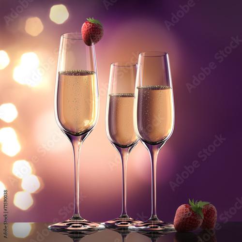 canvas print picture Champagner und Erdbeeren
