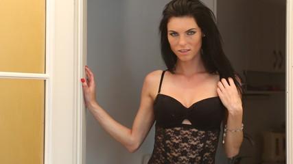 Sexy lingerie woman in doorway
