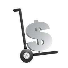 dollar currency symbol on a dolly.