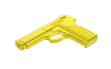 Yellow training gun isolated on white